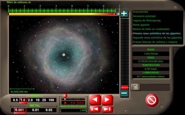 Captura de pantalla de una animación con flash que permite ver el ciclo de vida de las estrellas (Fuente)