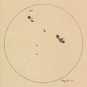 Manchas en el Sol dibujadas por Galileo (Fuente)