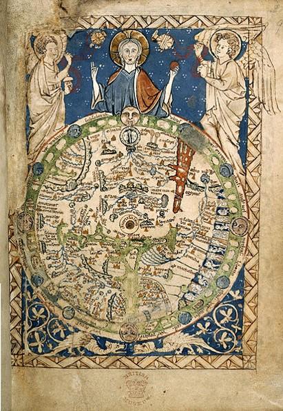 Mapamundi del Salterio de la abadía de Westminster que evidencia la separación Cielos-Tierra