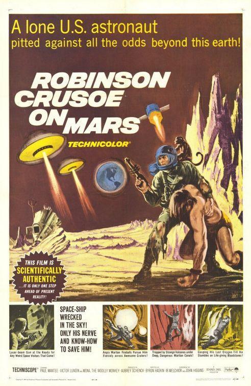 Cartel de la película Robinson Crusoe en Marte de 1964 (Fuente)