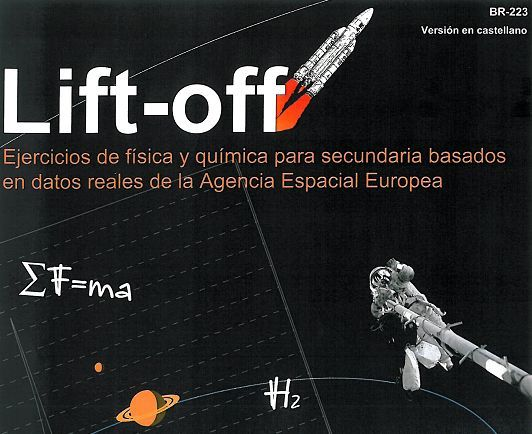 "Recorte de portada del libro de ejercicios publidado por la ESA ""Lift-off"""